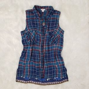 Xhilaration Plaid Sheer Polyester Button Up Shirt